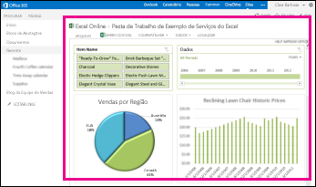Pasta de trabalho de exemplo exibida em uma Web Part do Excel Web Access