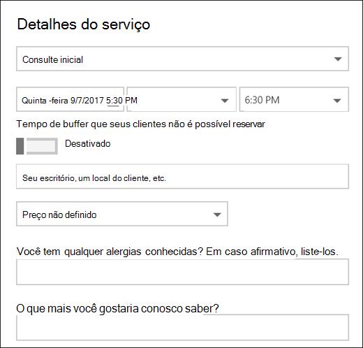 Captura de tela: mostrando o item de calendário aberto.