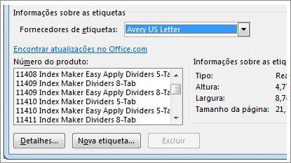 opções de fornecedor de etiqueta e de número do produto