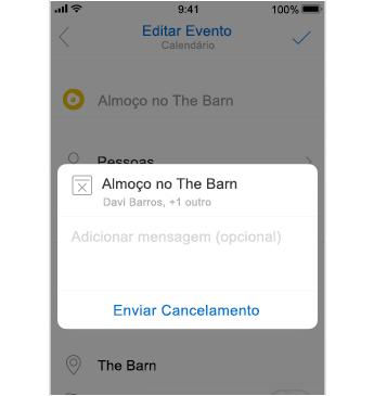 Tela de cancelamento com lugar para adicionar uma mensagem