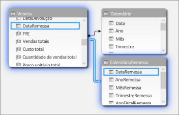 Relações com várias tabelas de data no Modo de Exibição de Diagrama