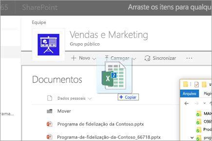Arrastar um arquivo para uma biblioteca de documentos do SharePoint