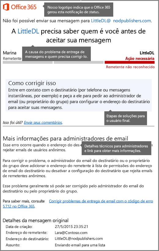 Formato mais recente para notificação de status de entrega (DSN) no Office 365