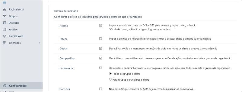 Seção política de locatário no portal de gerenciamento do Kaizala