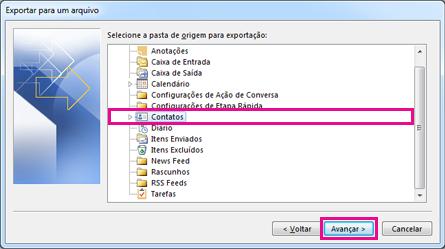 Assistente de Exportação do Outlook – Escolher contatos