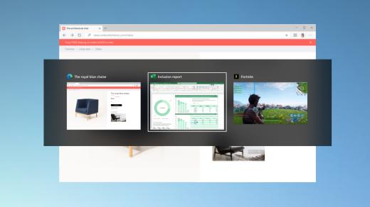 Usando Alt + Tab para alternar entre as páginas da Web abertas no Microsoft Edge.