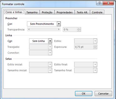 opções da caixa de diálogo Formatar Controle