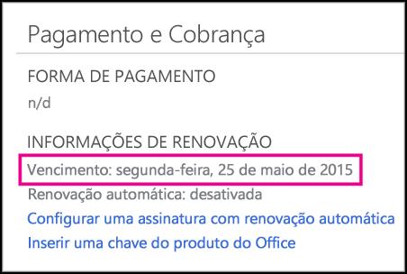 Detalhes de renovação da assinatura na página Conta do Office 365.