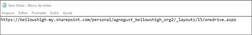 Cole a URL em um programa como o Bloco de Notas.