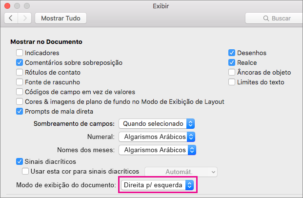 Opções de exibição de documento na caixa de diálogo Exibir