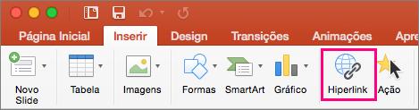 Mostra a guia Inserir no PowerPoint 2016 para Mac