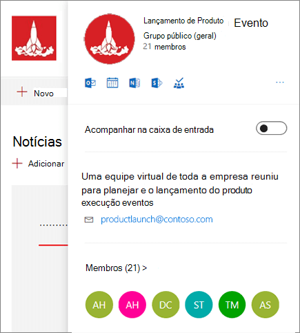 O cartão completo do grupo do Office 365