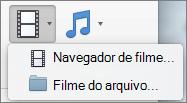 Captura de tela mostra o navegador de filme e o filme de opções de arquivo disponíveis do controle de lista suspensa de vídeo. Selecione uma opção para inserir um filme em sua apresentação do PowerPoint.