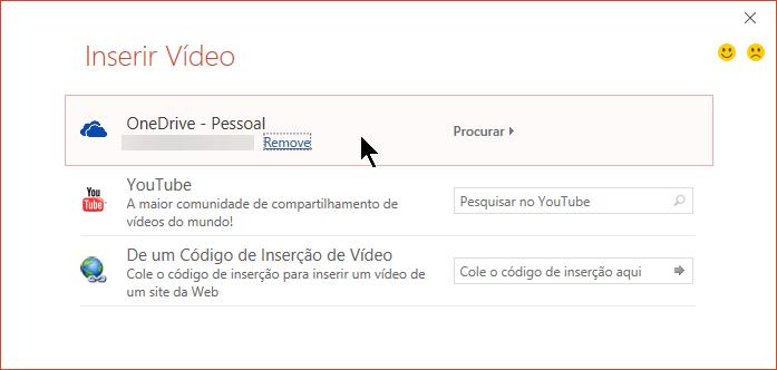 A caixa de diálogo Inserir vídeo inclui opções para o YouTube, Facebook e OneDrive.
