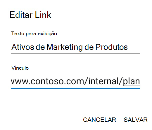 Caixa de diálogo Editar link do Outlook para Android.