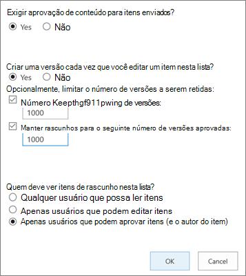 Opções de configurações de lista no SharePoint Online, mostrando o controle de versão habilitado