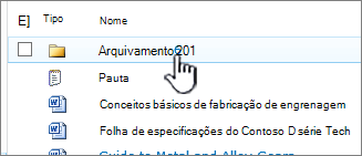 Biblioteca de documentos do SharePoint 2010 com pasta realçada
