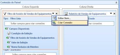 Captura de tela da opção de menu Criar Conexões