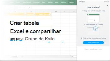 Captura de tela: Criar tabela no excel e compartilhar em um grupo de kaizala