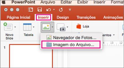 Mostra Inserir > Imagens > Imagem do comando de arquivo no PowerPoint 2016 para Mac