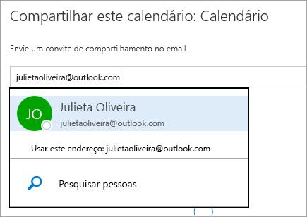 Captura de tela da caixa de diálogo Compartilhar Calendário no Outlook.com.