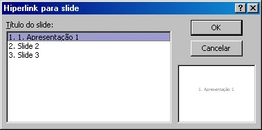 A caixa de diálogo Hiperlink para Slide