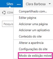 Menu Configurações em um site do SharePoint no modo de exibição de computador