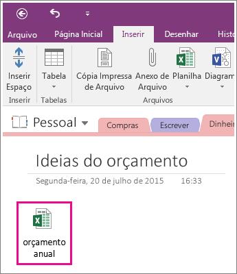 Captura de tela de uma planilha anexada no OneNote 2016.