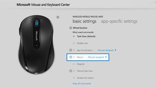 Criando uma macro no centro de mouse e teclado da Microsoft