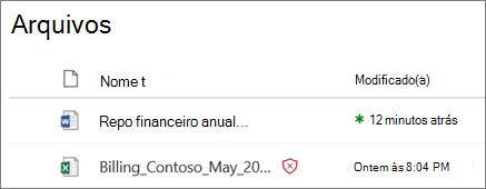Captura de tela de arquivos no OneDrive for Business com um detectado como mal-intencionado