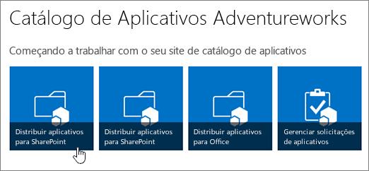 A Introdução aos blocos do catálogo de aplicativos com Distribuir Aplicativos para o SharePoint realçado.