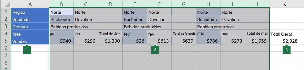 Dados organizados em colunas a serem agrupados