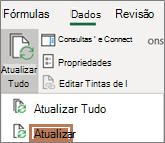 Mouse apontando para o comando atualizar na faixa de opções