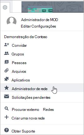 Captura de tela do menu Configurações com o Administrador de Rede realçado
