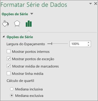 Painel de tarefas Formatar Série de Dados exibindo as opções de gráfico Caixa e Caixa Estreita no Office 2016 para Windows