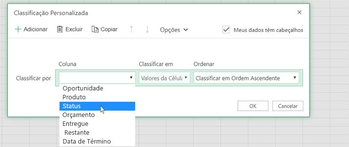 Selecione uma coluna na caixa de diálogo Classificar personalizado