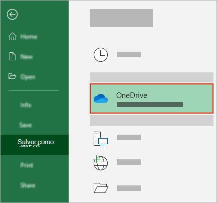 Caixa de diálogo Salvar como do Office mostrando a pasta OneDrive