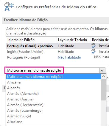 Lista Adicionar Outros Idiomas de Edição