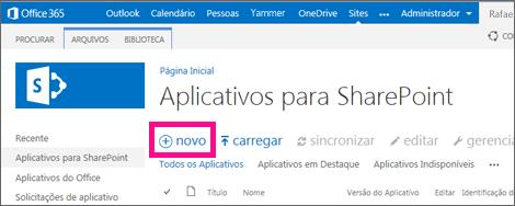 O link para o novo aplicativo na biblioteca Aplicativos para SharePoint no Catálogo de Aplicativos