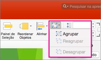 Mostra o ícone Grupo na faixa de opções no PowerPoint 2016 para Mac