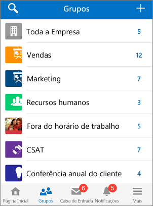 Captura de tela de grupos no aplicativo móvel do Yammer