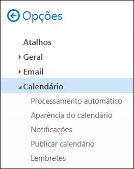 Opções de calendário do Outlook na Web