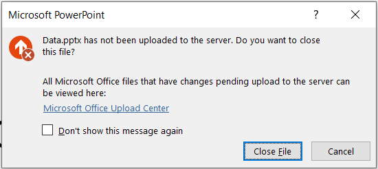 Erro do PowerPoint: O arquivo não foi carregado para o servidor.