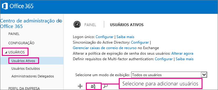 Uma imagem da seção de usuários do Centro de administração do Office 365