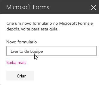 Painel de web part do Microsoft Forms para um novo formulário.