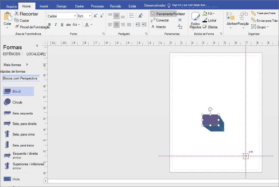 Em blocos com estêncil de perspectiva, arraste uma forma para a página de desenho.