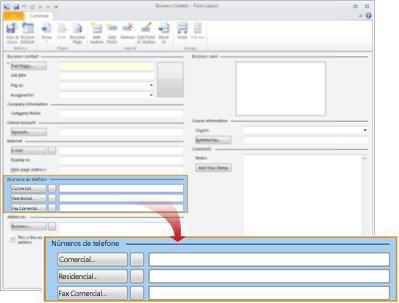 A tela Layout de Formulário de Contato Comercial com a seção número de telefone selecionada.