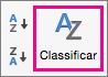 Na guia Dados do Excel, selecione Classificar