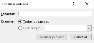 Digite um nome na caixa de diálogo de Localizar Entrada para localizar um destinatário.