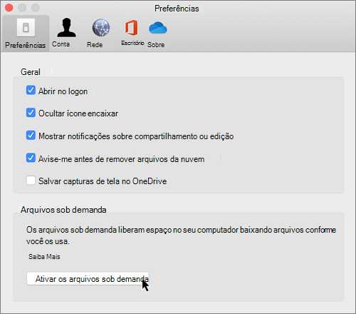 Captura de tela de preferências no Mac para arquivos do OneDrive sob demanda